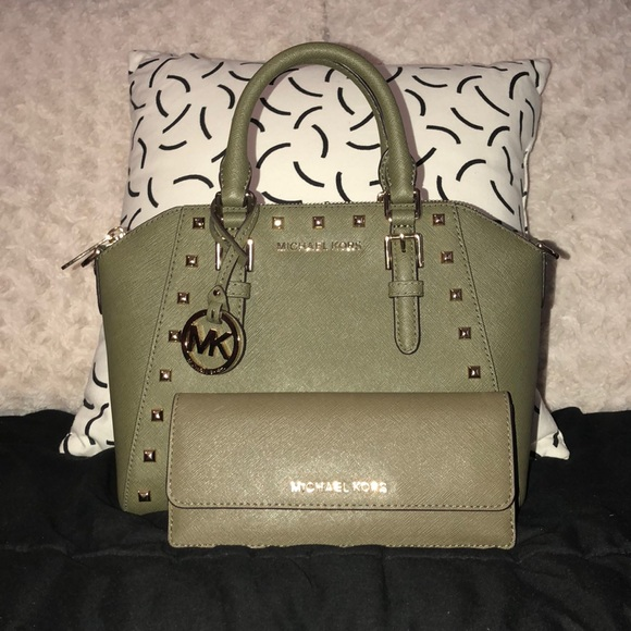 703fc55a444a Michael Kors Ciara Studded Messenger Bag Olive. M_5b719a3bbf7729ba4bf3eb92